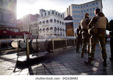 BRUSSELS - NOVEMBER 23: Belgium Army and police at Louise metro station in Brussels as part of security lock-down following terrorist threats. on November 23, 2015 in Brussels, Belgium.