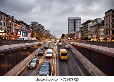 BRUSSELS - NOVEMBER 25: Porte de Namur tunnel in Brussels photographed at dusk. Photo taken on November 25, 2017 in Brussels, Belgium