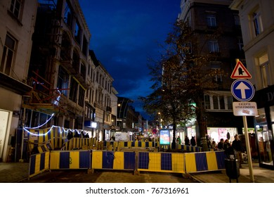 BRUSSELS - NOVEMBER 25: Public infrastructure works on Chausse d'Ixelles. Photo taken on November 25, 2017 in Brussels, Belgium