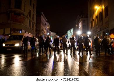 BRUSSELS - NOVEMBER 25: Riot police restoring order in Brussels after a peaceful protest against slavery became violent. Photo taken on November 25, 2017 in Brussels, Belgium