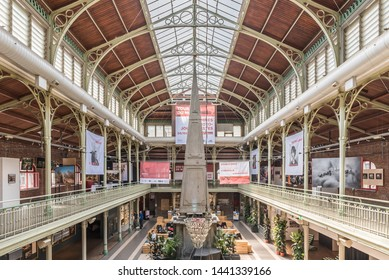 Brussels Old Town / Belgium - 06 25 2019: Interior design of the Halles Saint-Géry -  Sint Goriks Hallen  a commercial mall with restaurants, expositions and cafés