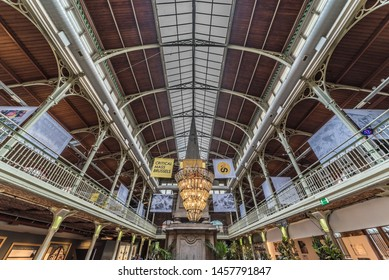 Brussels Old Town / Belgium - 07 18 2019: Interior design of the Halles Saint-Géry -  Sint Goriks Hallen  a commercial mall with restaurants, expositions and cafés