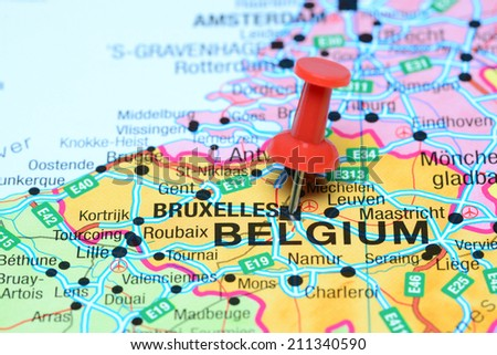 Brussels Pinned On Map Europe Stock Photo Edit Now 211340590