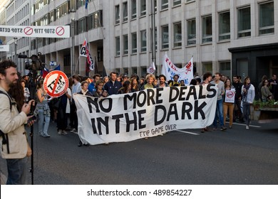 BRUSSELS - SEPTEMBER 20: Protest against the trade agreements TTIP and CETA in  Brussels on September 20, 2016 in Brussels, Belgium.