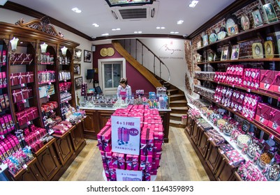 BRUSSELS - SEPTEMBER 3 2014: Bruyerre shop in Brussels. Godiva Chocolatier is a manufacturer of premium chocolates founded in Bruyerre