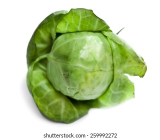 Brussels sprout, isolated on a white background, small depth of sharpness
