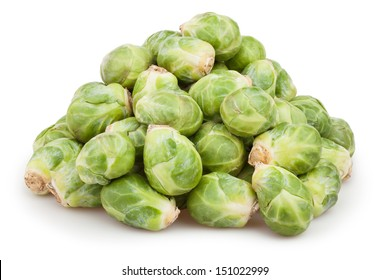 brussels sprouts heap on white background