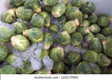 Brussels sprouts on ice