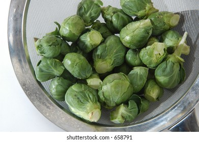 brussels sprouts in a strainer