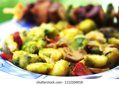 Brussels sprouts and sautéed vegetables
