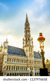Brussels Town Hall in Grand Place (Grote Markt), the most beautiful central square in Europe, UNESCO World Heritage Site since 1998, Brussels, Belgium