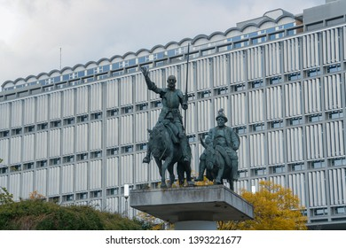 Brussels/Belgium; 04/28/2016. Statue of Don Quixote and Sancho Panza in Spanish Square, there is another one in Madrid.