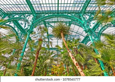 BRUSSELS,BELGIUM: APRIL 26 ,2018: The Royal Greenhouses of Laeken. A vast complex of monumental heated greenhouses in the park of the Royal Palace of Laeken in the north of Brussels.