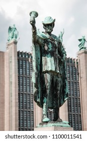 Brussels/Belgium - August 20th 2014: Statue in front of Hall 5 Brussels Expo building