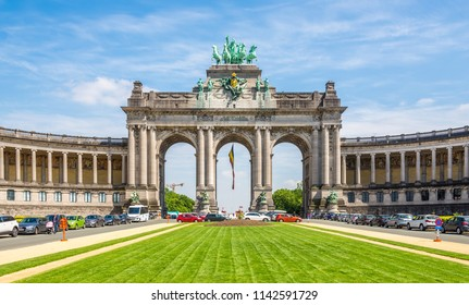 BRUSSELS,BELGIUM - MAY 18,2018 - View at the Triumphal Arch (Cinquantenaire)in Brussels. Brussels is the capital of Belgium.