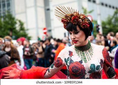 Brussels/Belgium - May 19th 2018: Man in flower costume at Belgian Pride Festival 2018