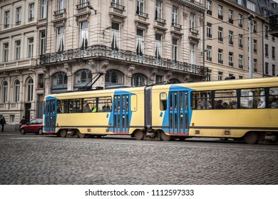 BRUSSELS-NOVEMBER 27,2012:Tramway  in a street of Brussels.