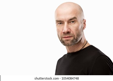 Brutal bald man, isolated on white background