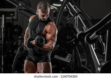 Brutal bodybuilder athletic man with six pack, perfect abs, shoulders, biceps, triceps and chest.