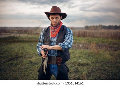 Brutal cowboy with revolver, gunfight on ranch