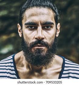 Brutal man with beard portrait