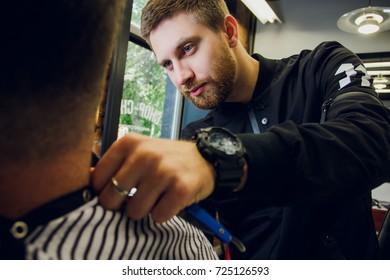 brutal man at the hairdresser barber shop