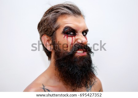 Fotograph of naked men with moustache