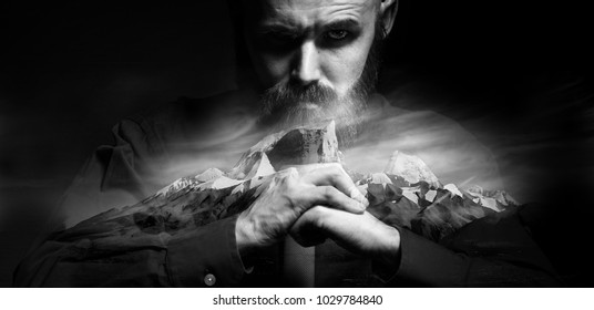 brutal portrait of a man fists force, unusual daring portrait aggressive man, beard, fists, hands, concept masculine strength
