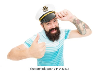 Brutal seaman isolated on white. Captain concept. Welcome aboard. Bearded man captain of ship. Sea cruise. Travel concept. Summer vacation. Hipster beard mustache sailor hat. Captain of cruise liner.