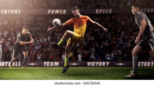 Brutal Soccer action on 3d sport arena. mature players with ball