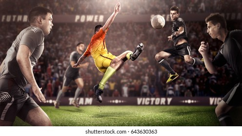 Brutal Soccer action on 3d sport arena. mature players with ball in black and orange uniform