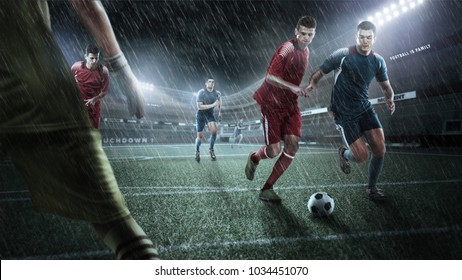 Brutal Soccer action on rainy 3d sport arena. mature players with ball