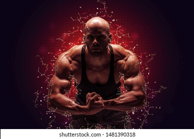 Brutal strong athletic bodybuilder posing. Polygonal space low poly dark background with connecting dots and lines. Bodybuilding and healty life concept. Copy space for sport nutrition ads.