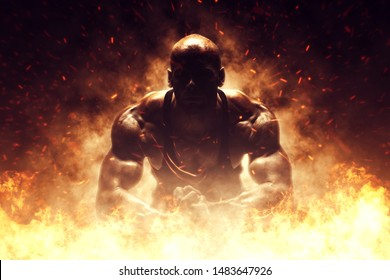 Brutal strong athletic Bodybuilder posing. Fire and spark explosion in the background. Bodybuilding and healty life concept