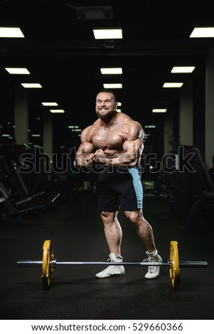 bf83fa5f674 Brutal strong athletic men pumping up muscles workout bodybuilding concept  background - muscular bodybuilder handsome men doing exercises in gym naked  torso ...