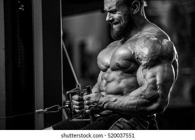 Brutal Strong Bodybuilder Athletic Man Pumping Up Muscles Workout Bodybuilding Concept Background