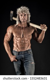 Brutality is new sexy. Lumberjack woodman sexy naked muscular torso. Man brutal attractive guy. Axe woodsman equipment. Man brutal sexy lumberjack carry axe. Masculine concept. Erotic lumberjack.