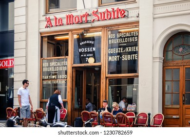 """Bruxelles - Belgium - 07-07-2010: """"A La Mort Subite"""", whose name means """"sudden death"""" in French, is a famous café/pub located in Brussels and founded in 1928."""