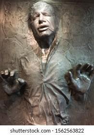 Bruxelles / Belgium - 08 21 2018 : Star Wars Identities Exhibition Han Solo in Carbonite StarWars