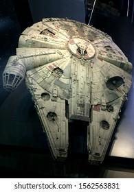 Bruxelles / Belgium - 08 21 2018 :  starwars Millennium Falcon Replica star wars identities exhibition