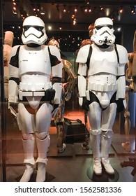 Bruxelles / Belgium - 08 21 2018 : Star Wars Storm Trooper white helmet StarWars Identities exhibition