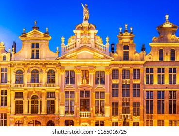 Bruxelles, Belgium. Night image with medieval architecture in Grand Place (Grote Markt).