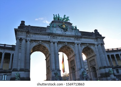 Bruxelles, Belgium. November 2019. Detailed view of the monument statues of the Fiftieth Anniversary Park arches, built for the Belgian indipendence by king Leopold II.