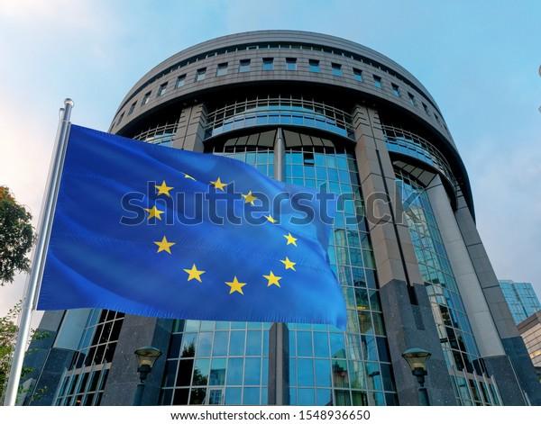 Bruxelles, Belgium - Oct 2019: European Parliament Union Bruxelles Facade Station Europe