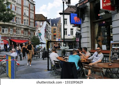 Bruxelles, Belgium, on the corner of the Rue du Marche au Charbon and Rue Lombard in the gay center of Bruxelles. August, 20, 2019.