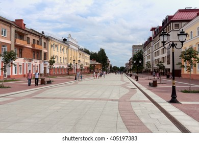 Bryansk, Russia - Jule 24, 2011: City streets, houses, sidewalks in city of Bryansk, Russia.