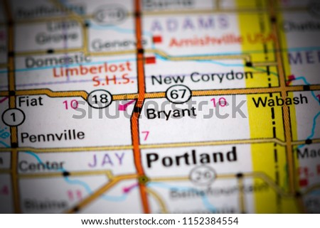 Bryant Indiana Usa On Map Stock Photo Edit Now 1152384554