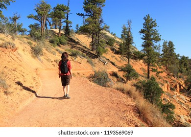 Bryce Canyon National Park, Utah, USA -August 27th, 2012 : One young woman hiking in Bryce Canyon National Park. Utah State-USA