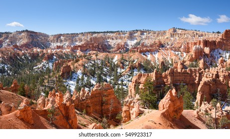 Bryce Canyon National Park; view looking south from the track below Sunrise Point, showing hoodoos and the natural amphitheater of the park
