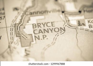 Bryce Canyon NP. Utah. USA on a map